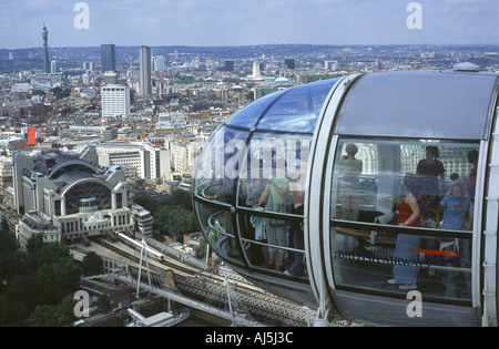 Looking out from a capsule on the London Eye towards Charing Cross Station, England, UK - Stock Photo
