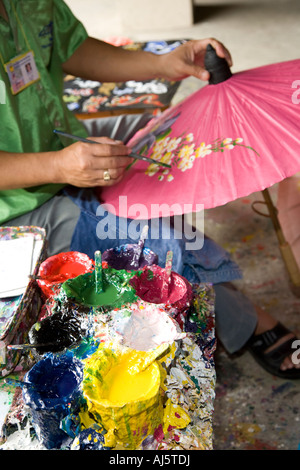 Asian crafts business at Borsang, or Bo sang, or Bor sang. Woman with Umbrella and parasol craft making centre, - Stock Photo