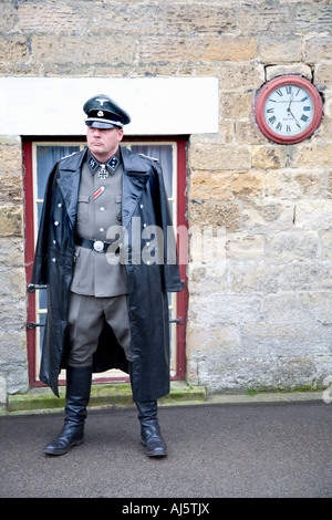 1940s SS Officer Nazis, World War Two German Army Officer Uniform - 20th Century Re-enactment groups Pickering 1940's - Stock Photo