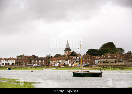 UK, West Sussex Chichester Bosham harbour boats moored at low tide - Stock Photo