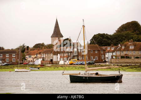 West Sussex Chichester Bosham harbour boats moored at low tide - Stock Photo