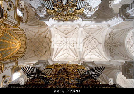 Pipe organ and vaulted ceilings in the interior of the cathedral of Granada Cathedral of the Annunciation Spain - Stock Photo