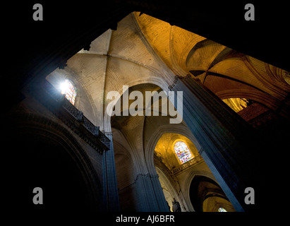 Interior and ceilings of the cathedral of Sevilla Seville Spain - Stock Photo