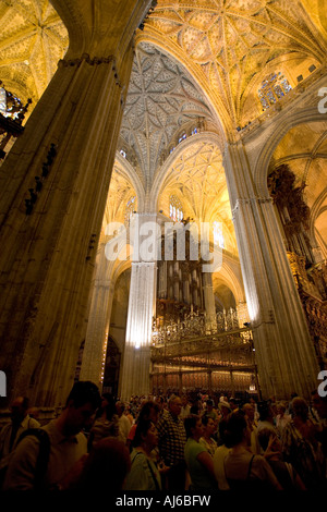 he impressive Interior and ceilings of the cathedral of Sevilla Seville Spain - Stock Photo