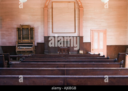 Interior of the Methodist Church at Bodie State Historic Park ghost town California USA - Stock Photo