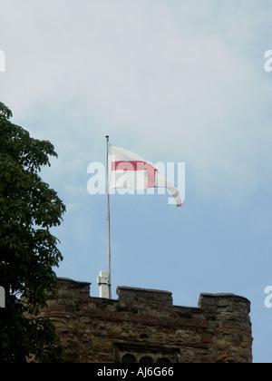 England Flag flying at Tamworth Castle 2 - Stock Photo