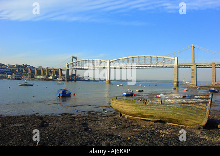 Royal Albert Bridge from St Beaudeux - Stock Photo