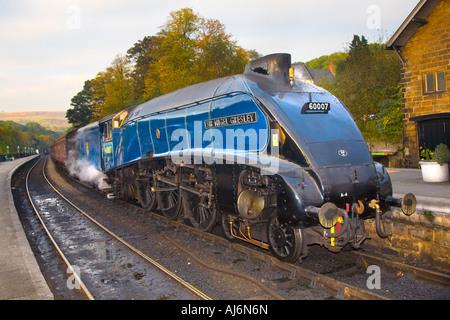 LNER A4 Pacific Locomotive ' Sir Nigel Gresley', British Steam Train at Grosmont Station, North Yorkshire, UK - Stock Photo