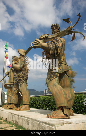 Abstract steel sculpture Hombres de Mar of fisherman in memory of those lost at sea Laredo Spain - Stock Photo