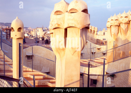 Rooftop of Gaudi's Casa Mila at sunset. Barcelona - Stock Photo