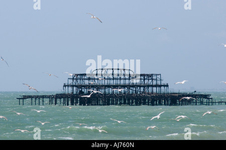 The remains of the West Pier, Brighton, Sussex, England - Stock Photo