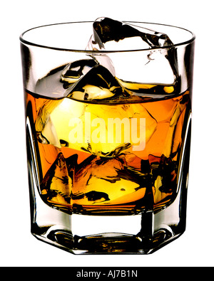 SCOTCH ON THE ROCKS CUT OUT BACKGROUND - Stock Photo