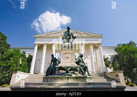 Monument to poet Janos Arany in front of the Hungarian National Museum, Budapest, Hungary. - Stock Photo