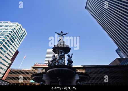 Tyler Davidson fountain on Fountain Square in Cincinnati, Ohio. - Stock Photo