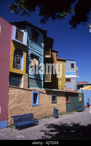 Houses along El Caminito, La Boca, Buenos Aires, Argentina - Stock Photo