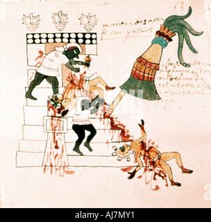 Aztec temple sacrifice. Artist: Unknown - Stock Photo
