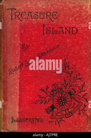 Cover of Treasure Island by Robert Louis Stevenson, 1886. Artist: Unknown - Stock Photo