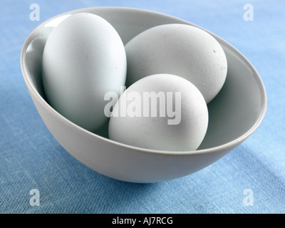 Old cotswold leg bar free range eggs in a bowl - Stock Photo