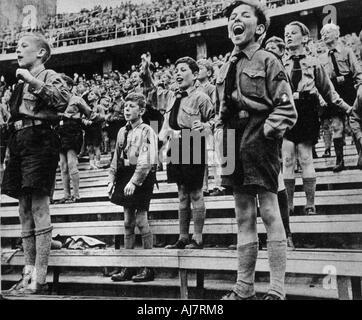 Rally of Nazi Youth Germany 1930s  - Stock Photo