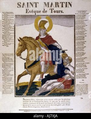 St Martin of Tours, 4th century (19th century). Artist: Anon - Stock Photo