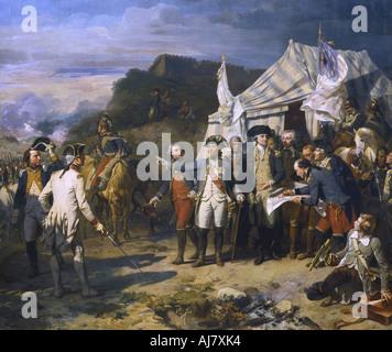 'Siege of Yorktown', 1781 (c1836). Artist: Auguste Couder - Stock Photo