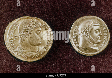 Gold coins showing heads of Roman Emperors Constantine the Great and Diocletian, 4th century. Artist: Unknown - Stock Photo
