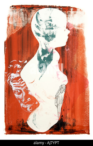 Photograph of screen print artwork based on a shop window display mannequin. Artist: Andrea Borosova. - Stock Photo
