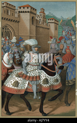 Louis XII, King of France, riding out with his army to chastise the city of Genoa, 24 April 1507. Artist: Unknown - Stock Photo