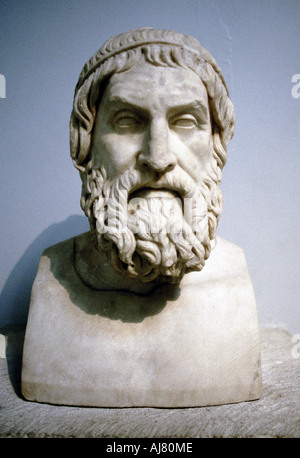 Marble portrait bust said to be of Sophocles, Athenian writer of tragedies. Artist: Unknown - Stock Photo