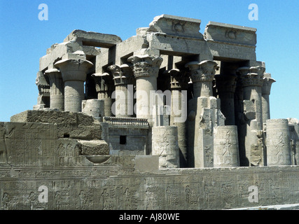 Hellenistic temple at Kawm Umbu (Kom Ombo) Egypt, c2nd century-1st century BC. Artist: Unknown - Stock Photo