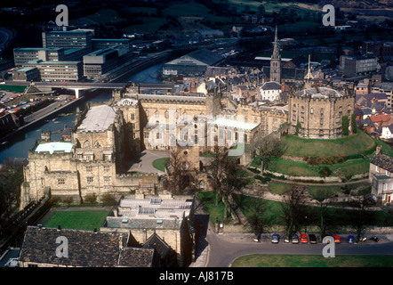 Durham Castle seen from top of Cathedral, Durham, Tyne and Wear UK - Stock Photo
