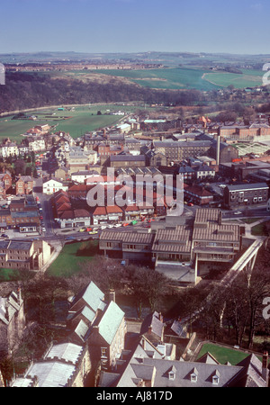 Durham Prison and other buildings seen from top of Cathedral, Durham Tyne and Wear UK - Stock Photo