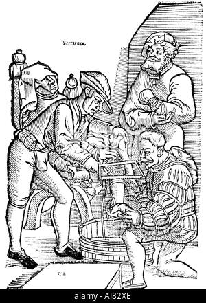 Amputation of a leg without anaesthetic, 1593. Artist: Unknown - Stock Photo
