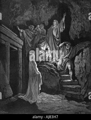 Jesus raising Lazarus from his tomb, 1865-1866. Artist: Gustave Doré - Stock Photo
