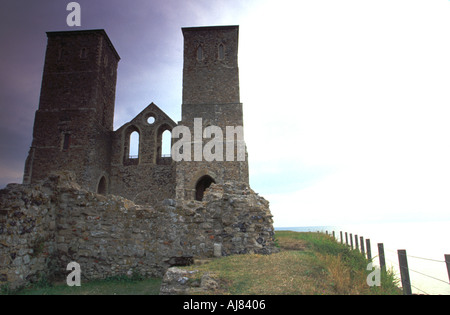 Reculver Castle Kent england english united kingdom gb britain great europe european isles british twin towers kent - Stock Photo