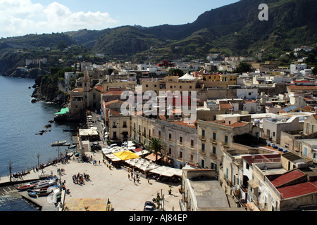 Aerial view of the Harbour of Marina Corta at Lipari in the Aeolian Islands Sicily Italy - Stock Photo