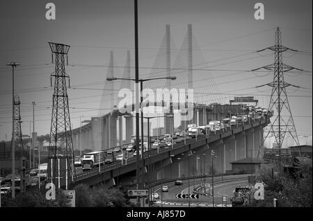 Dartford Bridge Thames Estuary London filled with rush hour traffic - Stock Photo