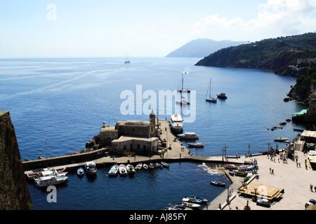 The Harbour of Marina Corta at Lipari in the Aeolian Islands Sicily Italy - Stock Photo