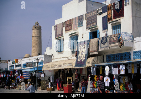 Commercial quarter Souk in the Old Town Medina Sousse Tunesia - Stock Photo
