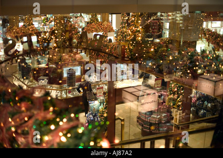 Christmas Holiday decorations inside Macy s Department Store at Stock Photo, ...