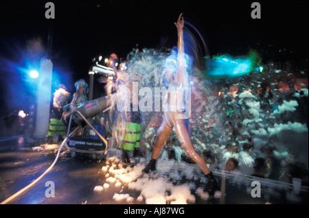 Young people enjoying foam party open air disco Halikarnas Bodrum Mugla Turkey - Stock Photo