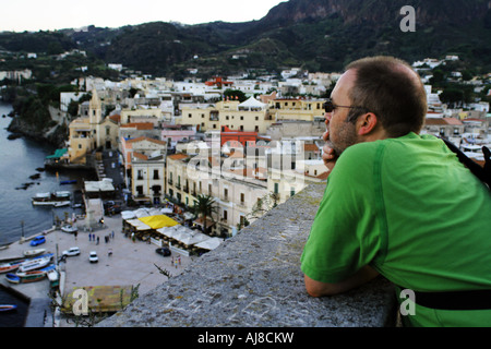 Looking out over the harbour of Marina Corta at Lipari in the Aeolian Islands Sicily Italy - Stock Photo