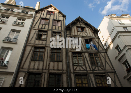 Medieval buildings in the Rue Francois Miron Paris France - Stock Photo