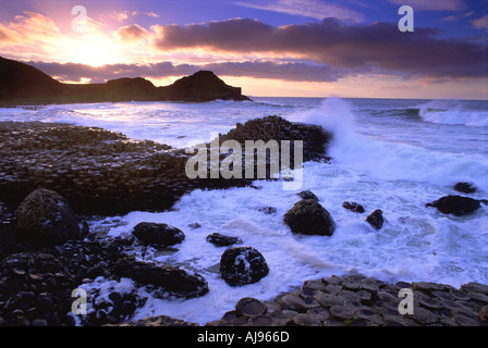 Evening at the Giants Causeway, Co Antrim, Northern Ireland - Stock Photo