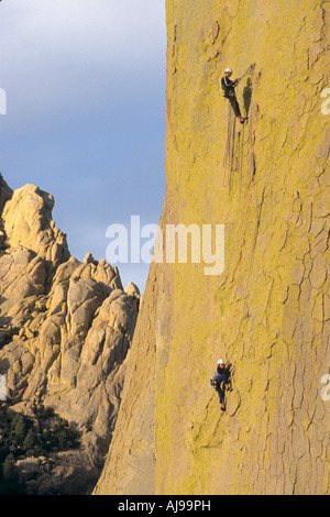 Rock climbers on the Great gig route. - Stock Photo
