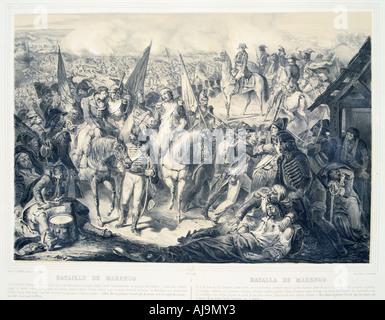 'Battle of Marengo', 14 June, 1800. Artist: Anon - Stock Photo