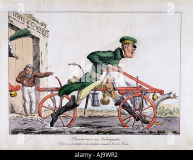 Draisienne or velocipede shown replacing horses in the French post service, 1818. Artist: Unknown - Stock Photo