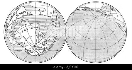 Diagram of the Earth during the Carboniferous period, 1922. Artist: Unknown - Stock Photo