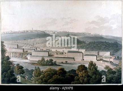 New Lanark Mills, Scotland, c1815. Artist: Unknown - Stock Photo