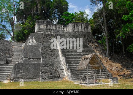 The Great Plaza and North Acropolis in Tikal, Guatemala - Stock Photo